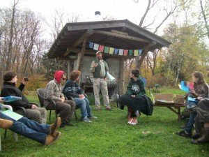 Wes Gillingham at his homestead sharing stories with the participants.