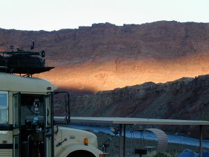 bus at sunrise